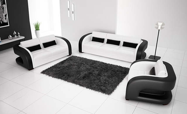 Free Shipping 2017 New Clic Black White Genuine Leather Solid Wood Frame Modern Sofa Set