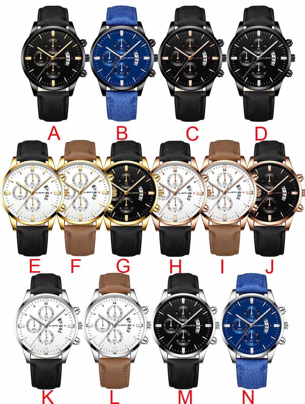 Men's Watch Fashion Sport Stainless Steel Case Leather Band Quartz Analog Wrist Watch Men Masculino Relogio Watch Clock M20#