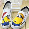 2016 new the adult cartoon spring Unisex shoes autumn painted SpongeBob hand low elastic canvas shoes Slip on Plus 35-44