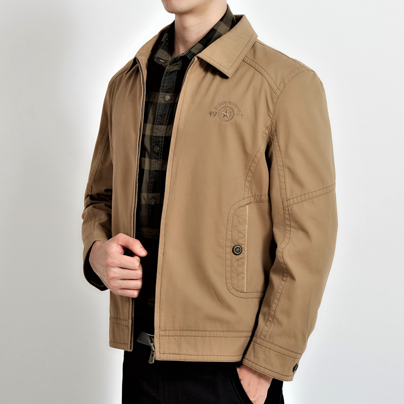 Erkek Kıyafeti'ten Ceketler'de Artı Boyutu 4XL 2018 Taktik Askeri Ceketler Erkekler için Orta Yaşlı Rahat Giyim Nakış Pamuk bombacı Açık Ceket'da  Grup 1