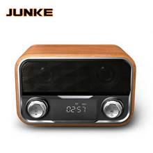 Wooden Wireless Alarm Clock Bluetooth Speaker Multi functional Plug in Card Computer Speaker Portable Audio And Video Equipment