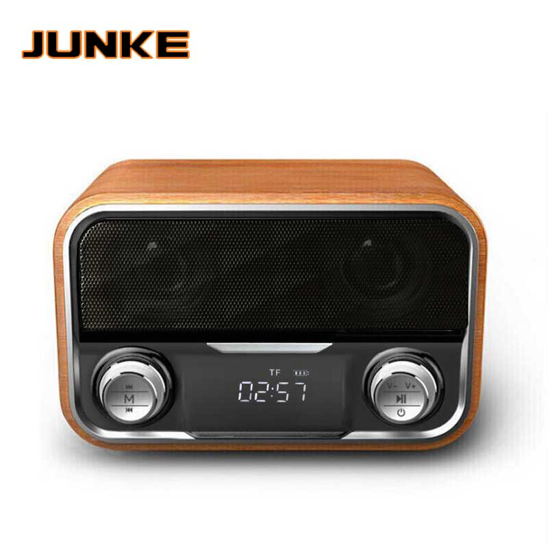 Wooden Wireless Alarm Clock Bluetooth Speaker Multi functional Plug in Card Computer Speaker Portable Audio And Video Equipment