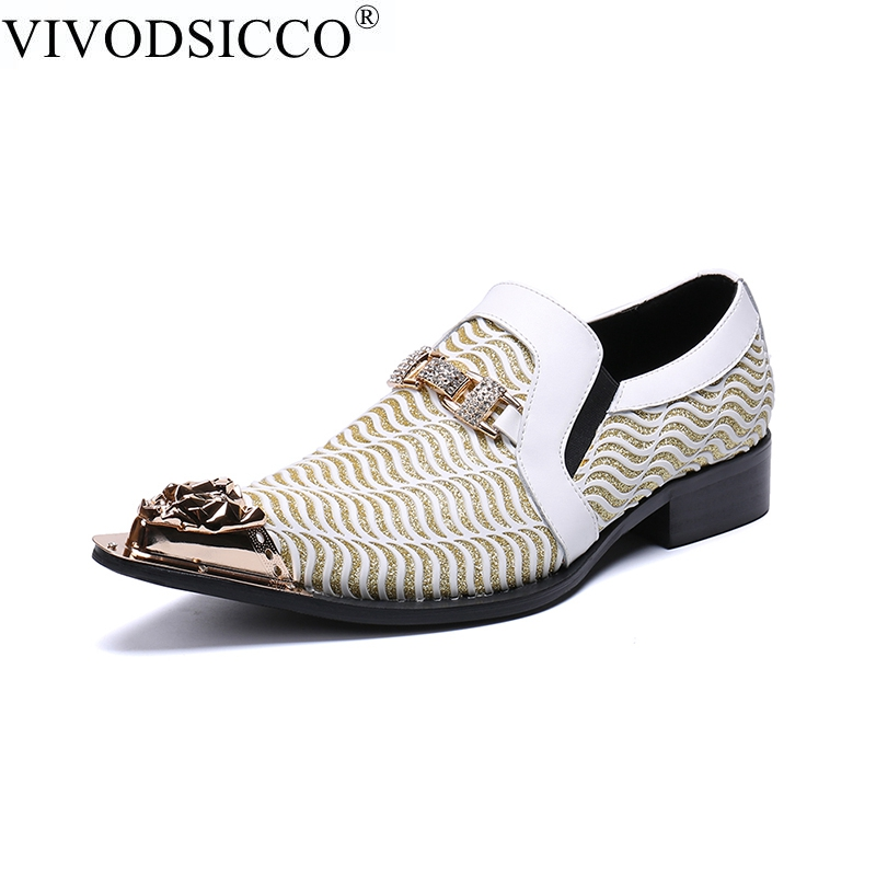 все цены на VIVODSICCO New Business Men Dress Shoes Fashion Style Man Leather Shoes Wedding Shoes Social Sapato Male Oxfords Flats Shoes онлайн