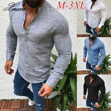 Men T-shirts Long Sleeve Fashion Solid Button Up V Neck Shirts Spring Solid Business Casual Cotton Tops Tshirt Men недорого