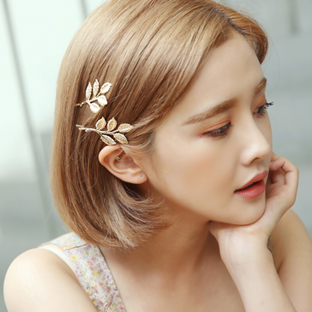 Woman Bride Metal Leaf Feather Hair Clips Pearl Hairpin Beautiful And Elegant Girls Barrettes Hair Accessories Fashion Two Type