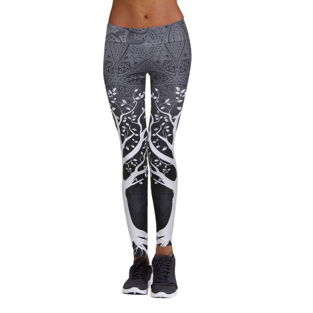 KLV Women Yoga Pants Elastic Fitness Sport Leggings Tights High Waist Print  Running Sportswear Sports Pants Training Trousers d8b07312eb