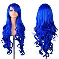 Women's Fashion Wig Curly Hair Wigs With Bangs Dark Blue Curly Hair Wig bule