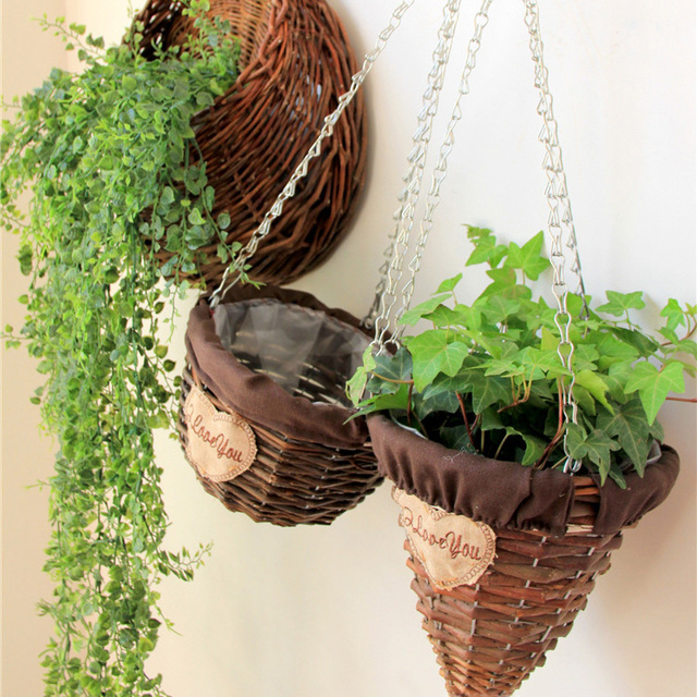 Home Decor Accessories Woven Flower Baskets For Arrangement Wall Hanging Rattan Garden Plant Planter