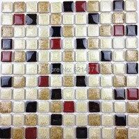 Discount White Deep Red Black Ceramic Porcelain Glazed Mosaic Tiles For Kitchen Backsplash Shower Dining Room Wall Tile