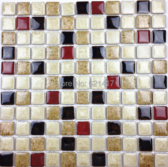 White Deep Red Black Ceramic Porcelain Glazed Mosaic Tiles For Kitchen Backsplash Shower Dining Room