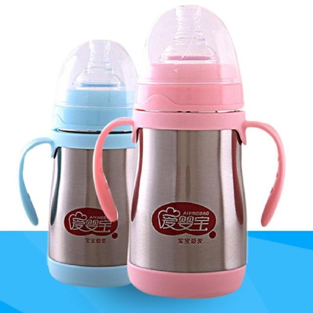 Bebê Recém-nascido Infantil Mamadeira de Leite portátil Cup Warmer Aço Inoxidável Cores Aleatórias
