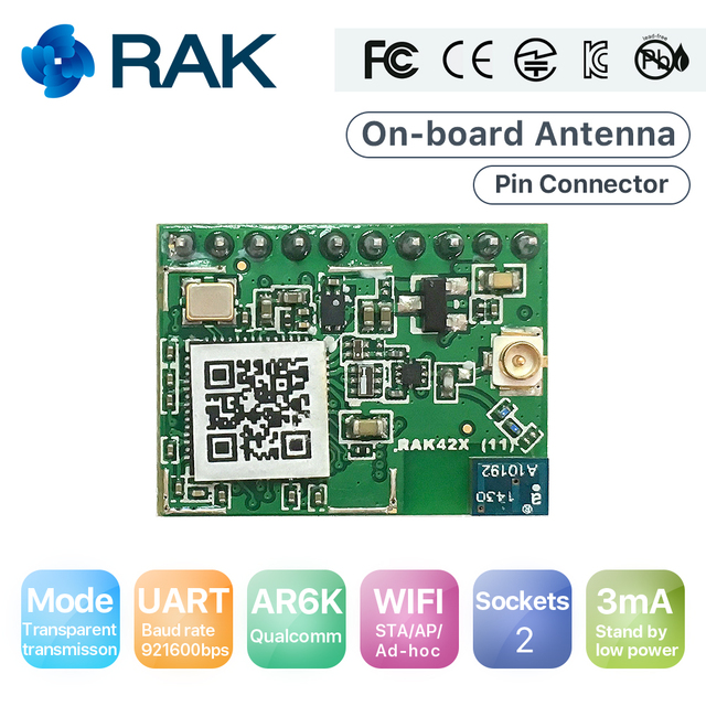 RAK425 Wireless UART Serial WIFI Module to IoT Low Power Tiny Size Pin Connector Industrial Grade Integrated TCP IP ProtocolQ124