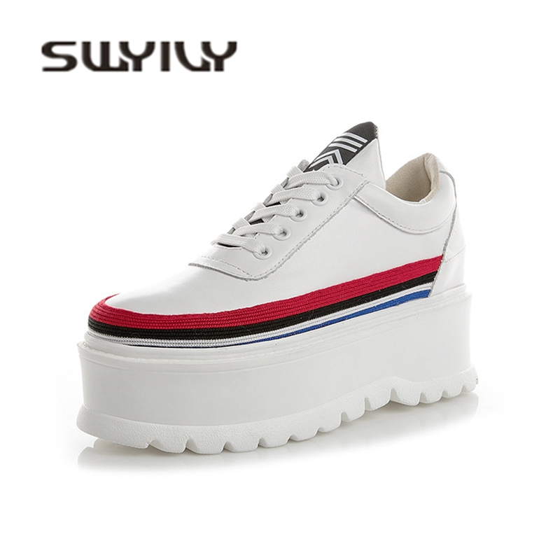 SWYIVY Sneakers Platform Pumps Single Shoes 2018 Autumn White Female Casual Shoes Muffin Bottom Genuine Leather