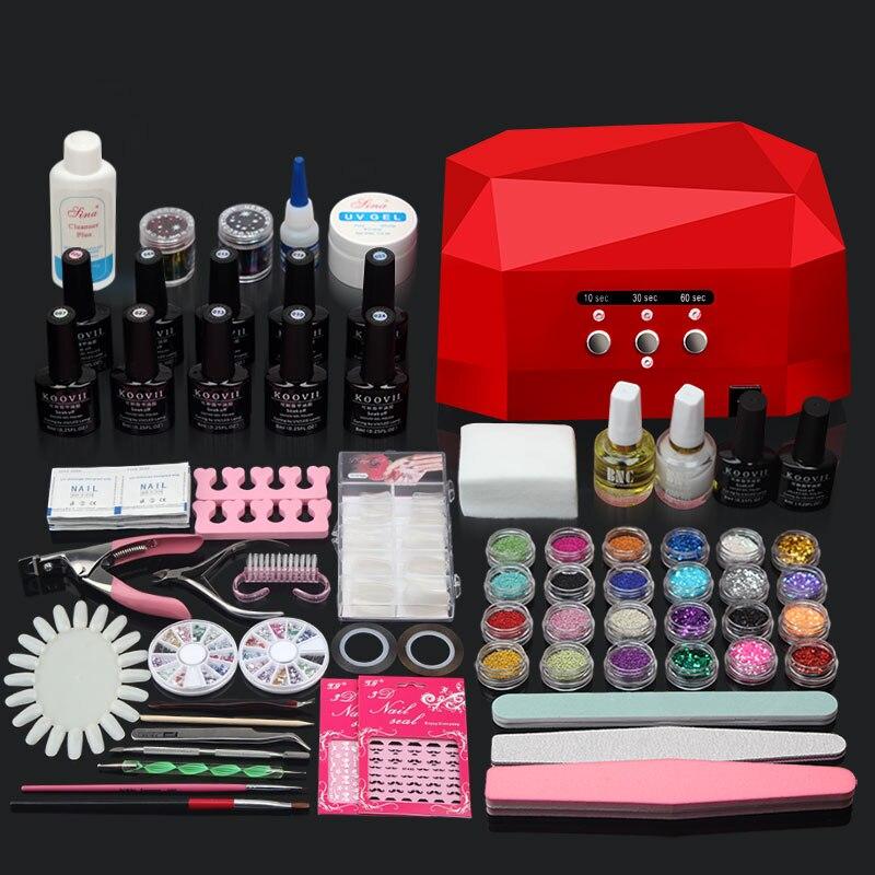 Nail Art Manicure Set 36W / 48W UV Nail Lamp + 10 Färger Nail Gel - Nagel konst