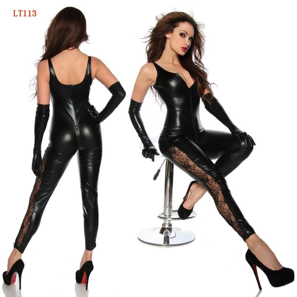 Czarna sztuczna skóra bez rękawów otwórz Crotch Catsuit z zamkiem błyskawicznym koronki nogi seksowna bielizna lateks Catsuit strój erotyczny Sexy kostiumy Hot