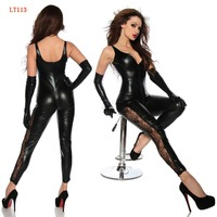 Black Faux Leather Sleeveless Open Crotch Catsuit With Zipper Lace Leg Sexy Lingerie Latex Catsuit Fetish