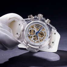 Unique Transparent Watch Men Luxury Brand Automatic Mechanical Waterproof Silicone Skeleton Sports Relogio Masculino