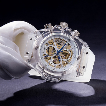 Unique Transparent Watch Men Luxury Brand Automatic Mechanical Watch Waterproof Silicone Skeleton Watch Sports Relogio Masculino