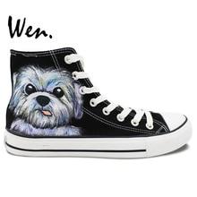 Wen Black Design Custom Hand Painted Shoes Pet Dog Men Women's Birthday Gifts High Top Black Canvas Sneakers