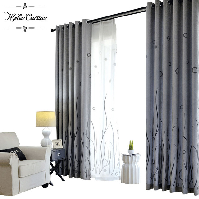 Helen Curtain 2017 Modern Jacquard Grey Curtains Designs For Living Room Creative Water Weed Tulle
