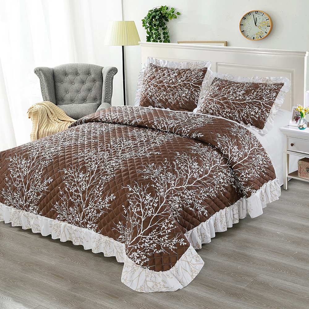 High Quality Branch Pattern Summer Air Conditioner Cool Thin Quilt Comfortable Home Textile Bedding Comforters Duvets Pillowcase