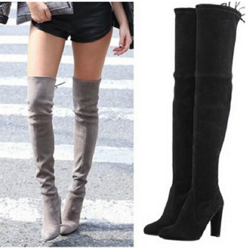 2017 new Women Boots Stretch Faux Suede Slim Thigh High Boots Sexy Fashion Over the Knee Boots High Heels botas