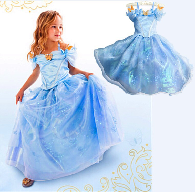 2016 New Cinderella Kids Dress Retail Blue Princess Girl Dress With Butterfly For Cinderella Cosplay Costume Girl Fancy Dresses 2015 new style movies cinderella princess dresses for kids nice blue princess dresses cinderella fancy costumes child s clothes