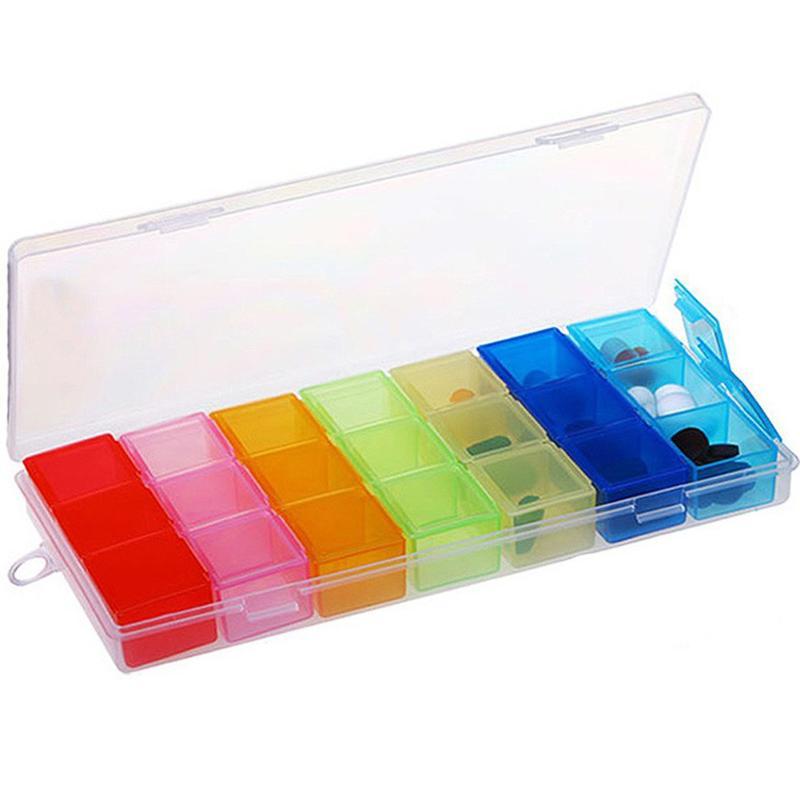 7 Day 21 Slot Pill Box Case Organizer Week Storage Drug Holder FOR Medicine Splitter Container Storage Case Container Holder
