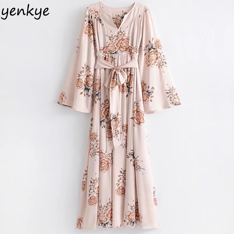 US $22.91 42% OFF Women Kimono Sleeve Floral Printed Maxi Dress High Waist  Sashes Summer Casual Holiday Beach Dresses Plus Size-in Dresses from ...