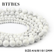 BTFBES Natural Stone Howlite White Pine Loose Bead Round Ball 4/6/8/10/12MM Spacer Beads for Jewelry Making Bracelet DIY