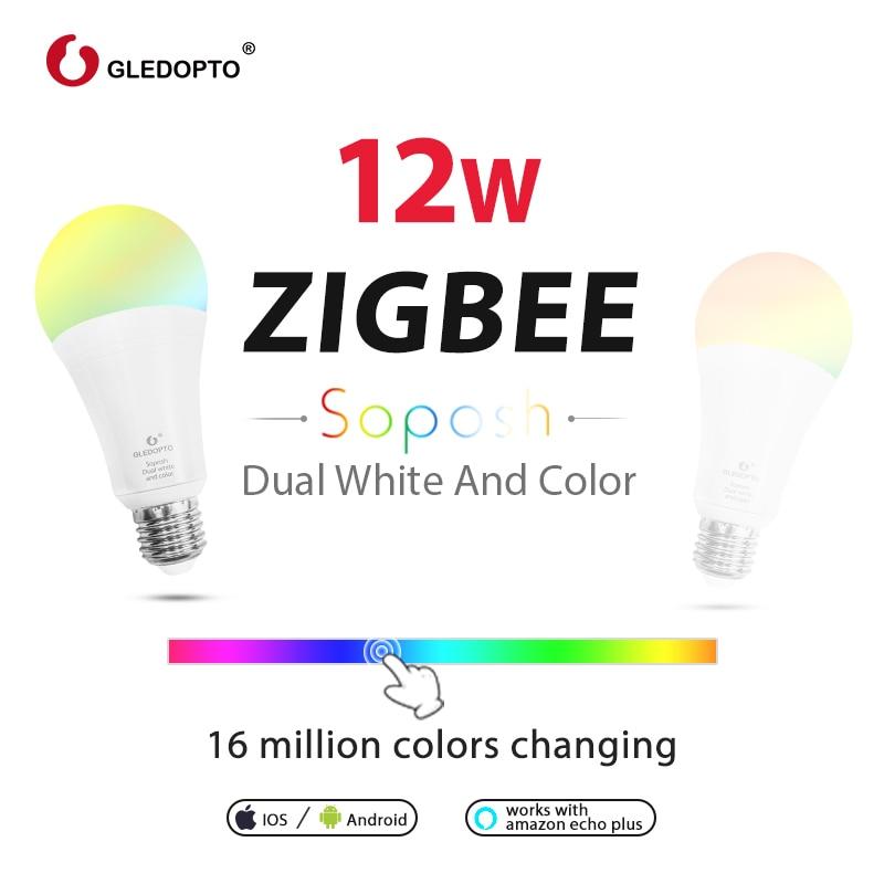 ZIGBEE 3.0 ZLL LED 12 W RGB + CCT ampoule AC100-240V rgb et double blanc e27 e26 variateur LED ampoule dimmable lampe RGBW/RGBWW travail alexa - 5