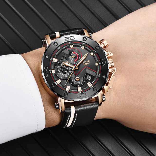 Leather Luxury Big Dail Waterproof Sport Chronograph Watch Men