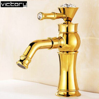 2014 Crystal Bathroom Faucets 360 Ronating Water Faucet Wash Basin Sink Faucet Luxury Antique Bronze