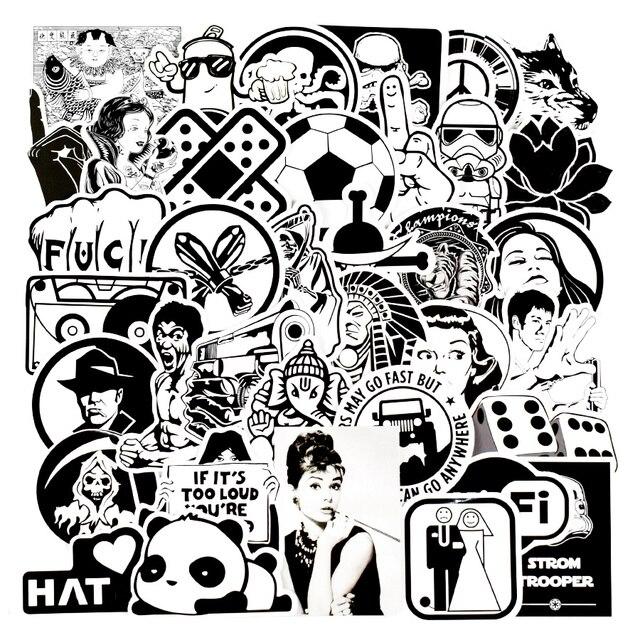 100Pcs Diy Stickers Mixed Random Black And White Stickers