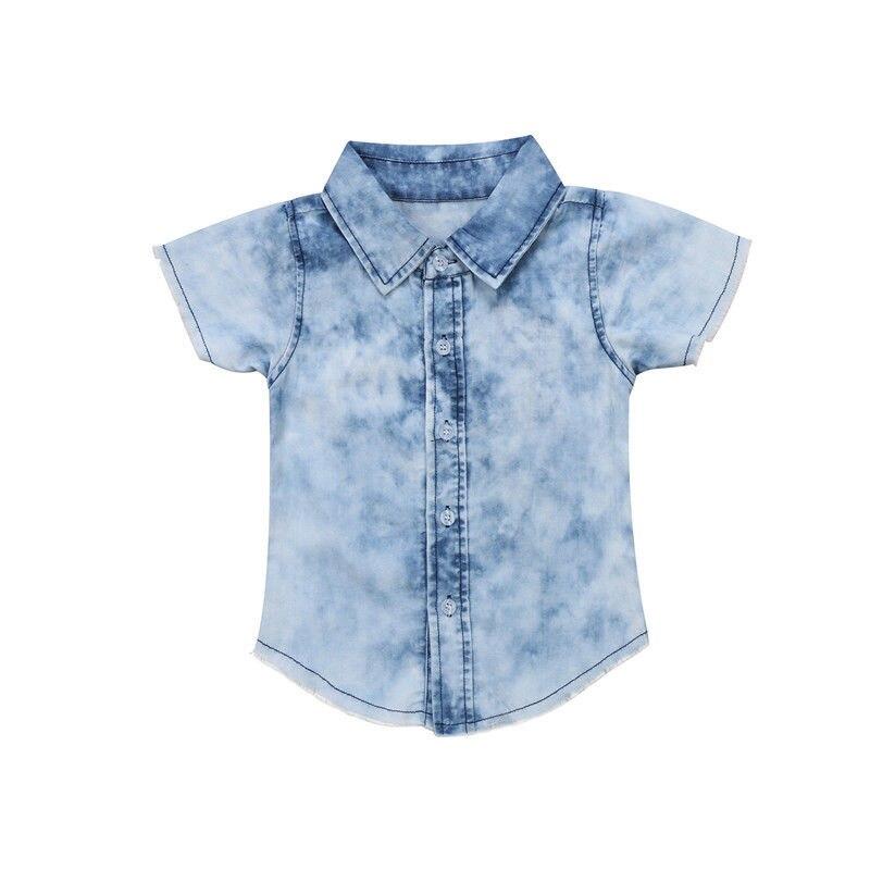 2-6 T Babys Mädchen Jungen Sommer Kleidung Set Baby Kids Denim Hemd Solide Taste Quaste Kurzarm Shirts Outfits Sets Neue Bluse