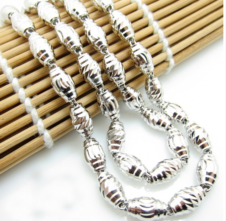 Pure 925 Sterling Silver Oval Beads Necklace chain 19 inch