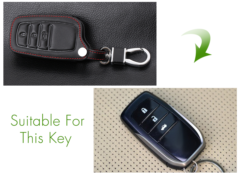 Image 4 - Genuine Leather Remote Control Car Keychain Key Cover Case For Toyota Camry Crown RAV4 Corolla Prado Prius 3 Buttons Smart Key-in Key Case for Car from Automobiles & Motorcycles