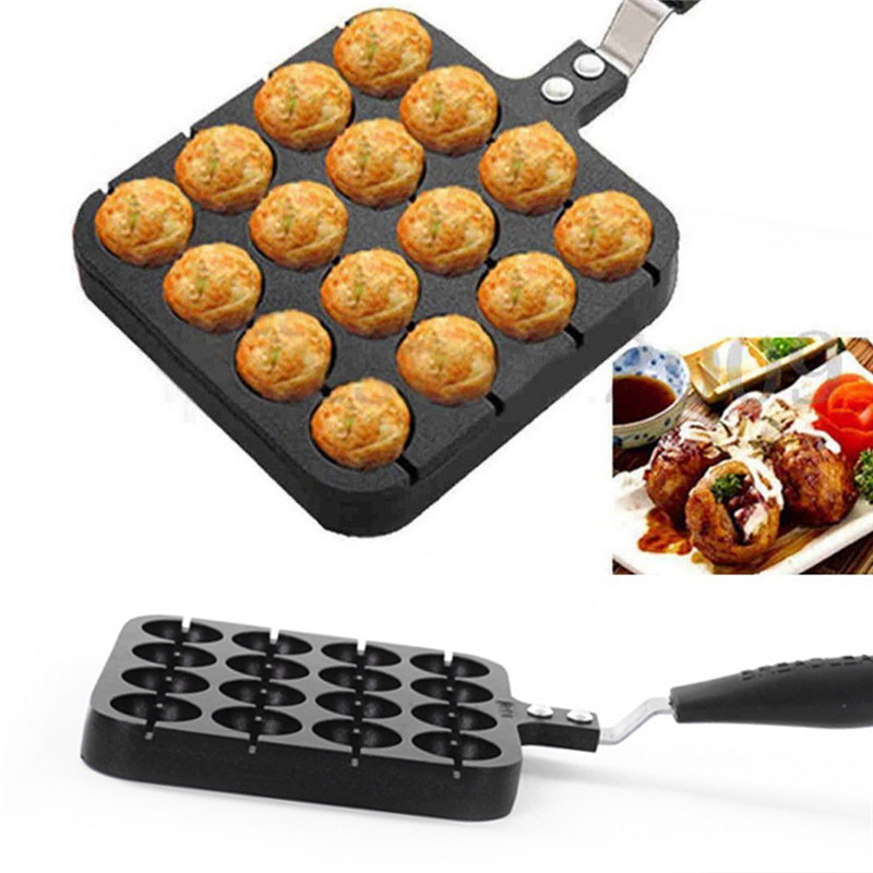 16 Holes Aluminum Takoyaki Maker Grill Pan Octopus Ball Plate Home Cooking Baking Forms Mold Tray Baking Pan Kitchen Accessories