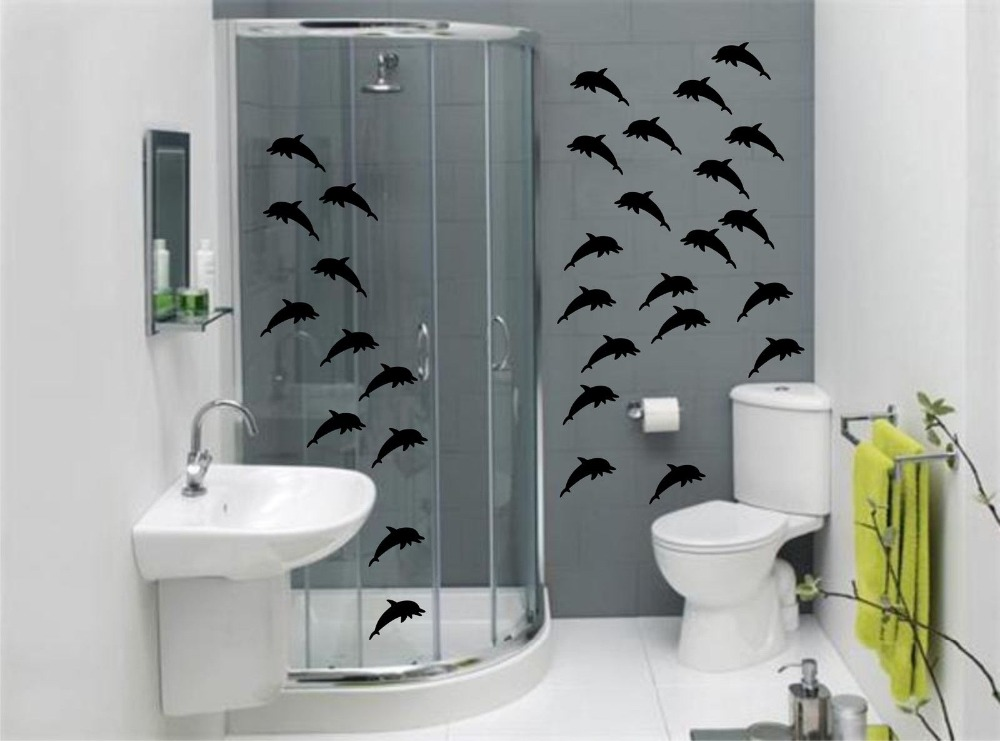 Bathroom Wall Decor: DOLPHINS Bathroom Wall Art Stickers ,Waterproof Baby Wall