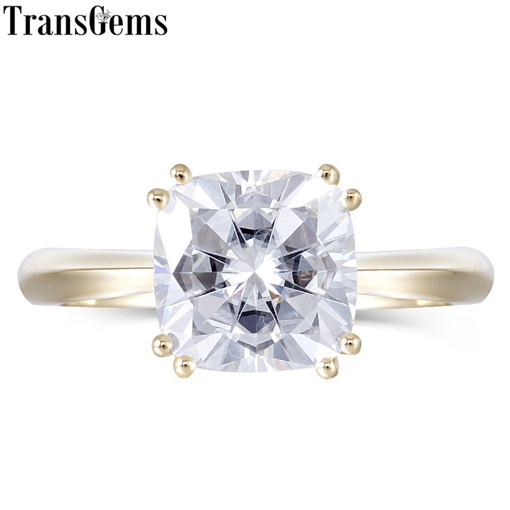 Transgems Solid 14k 585 Yellow Gold 2.5ct 8mm Cushion Cut F Color Moissanite Engagement Ring for Women Wedding Classic Ring