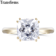 Transgems Solid 14k 585 Yellow Gold 2.5ct 8mm Cushion Cut F Color Moissanite Engagement Ring for Women Wedding Classic