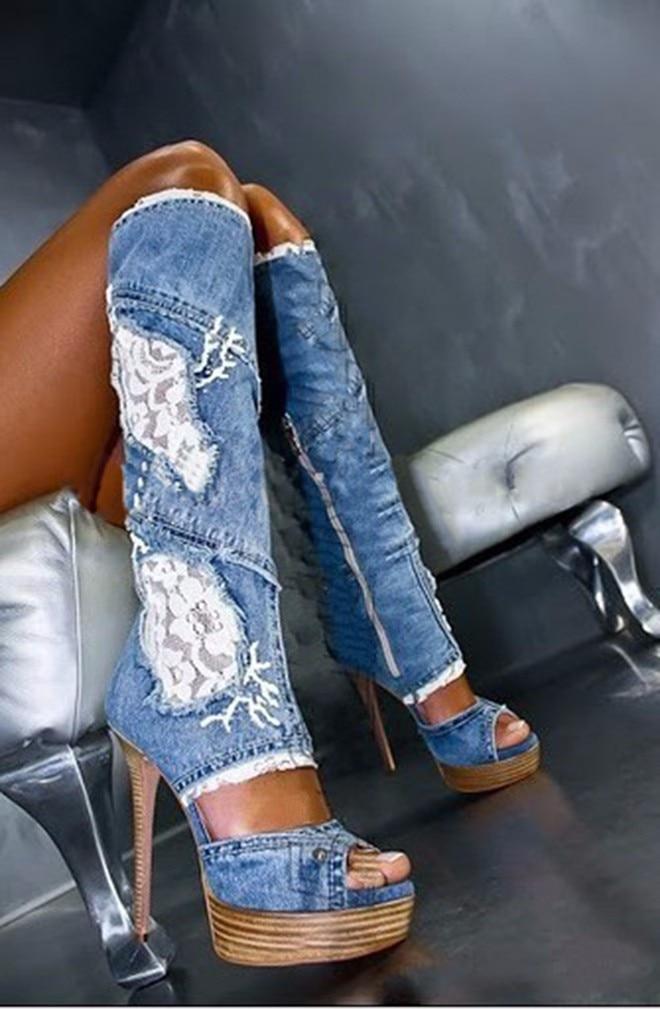 Woman Platform Wedge Boots Denim Blue Lace Flower Knee High Boots Sexy Open Toe Cutouts Sandal Boots Summer High Heel Boots недорго, оригинальная цена
