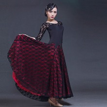 2017 new big wing lace splicing modern dance dress black perspective long sleeved waltz tango flamenco practice Dance Costume