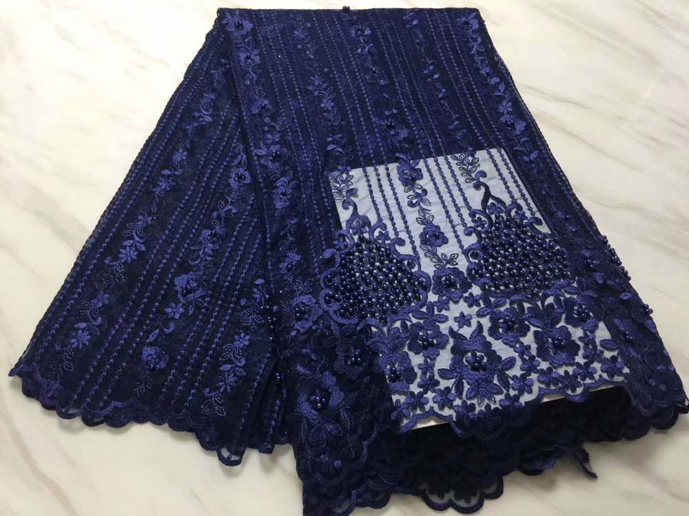 African Lace Fabric 2018 High Quality Lace Embroidery Fabric 5Y Power Navy blue Tulle Lace Fabric For Lace Evening DressesAfrican Lace Fabric 2018 High Quality Lace Embroidery Fabric 5Y Power Navy blue Tulle Lace Fabric For Lace Evening Dresses