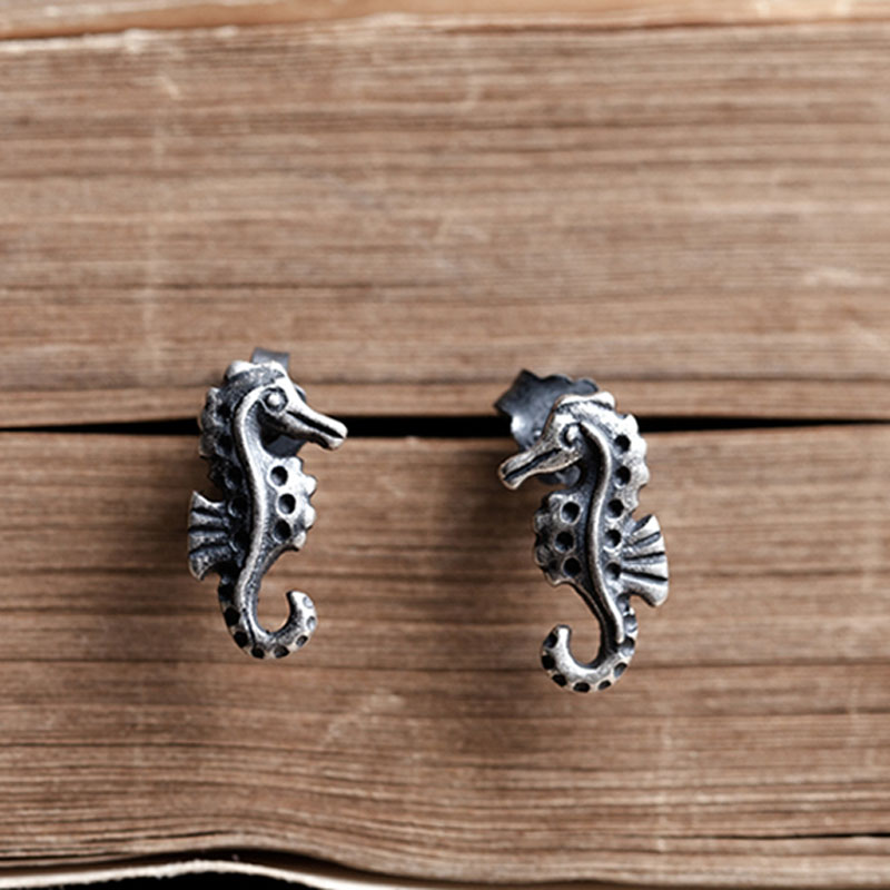 UMGODLY 925 Sterling Silver Seahorse Ear Studs Vintage Punk Style Hippocampus Earrings Men Women Fashion Hypoallergenic Jewelry