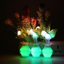 4LED Light Sensor Night Light Mushroom Flower Plant US Plug Colorful Nightlights Luminaria LED Lamp Home Bedroom Decoration