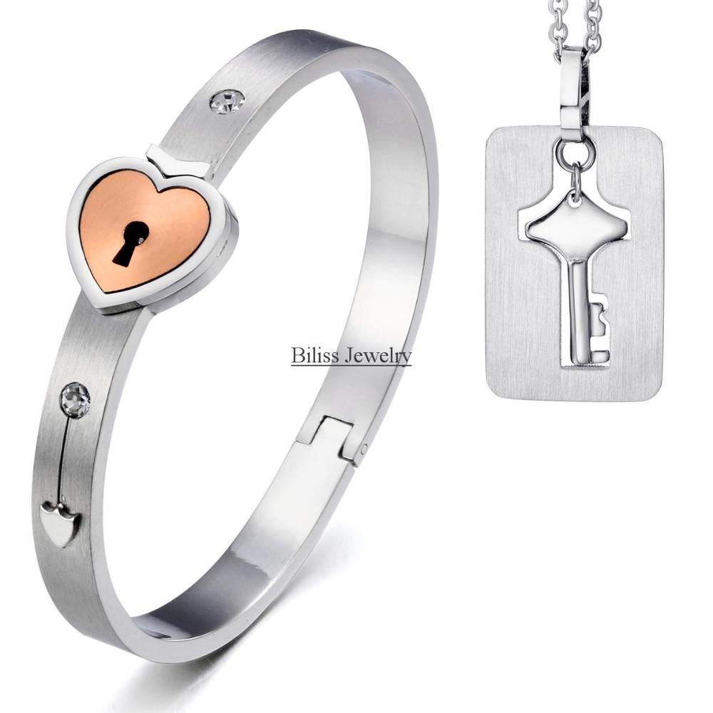 BONISKISS New Unisex Bracelets Fashion Silver Couple Heart Lock Stainless Steel Key Pendant Titanium Steel Jewelry Sets cute bear shaped stainless steel pendant titanium
