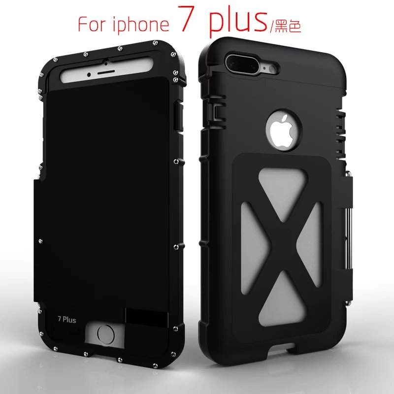 Armor King Iron Man Design Stainless Steel Aluminum Frame Flip Metal Case for iPhone 7 8 4.7 / 8 7 Plus 5.5 Mobile Phone Cover