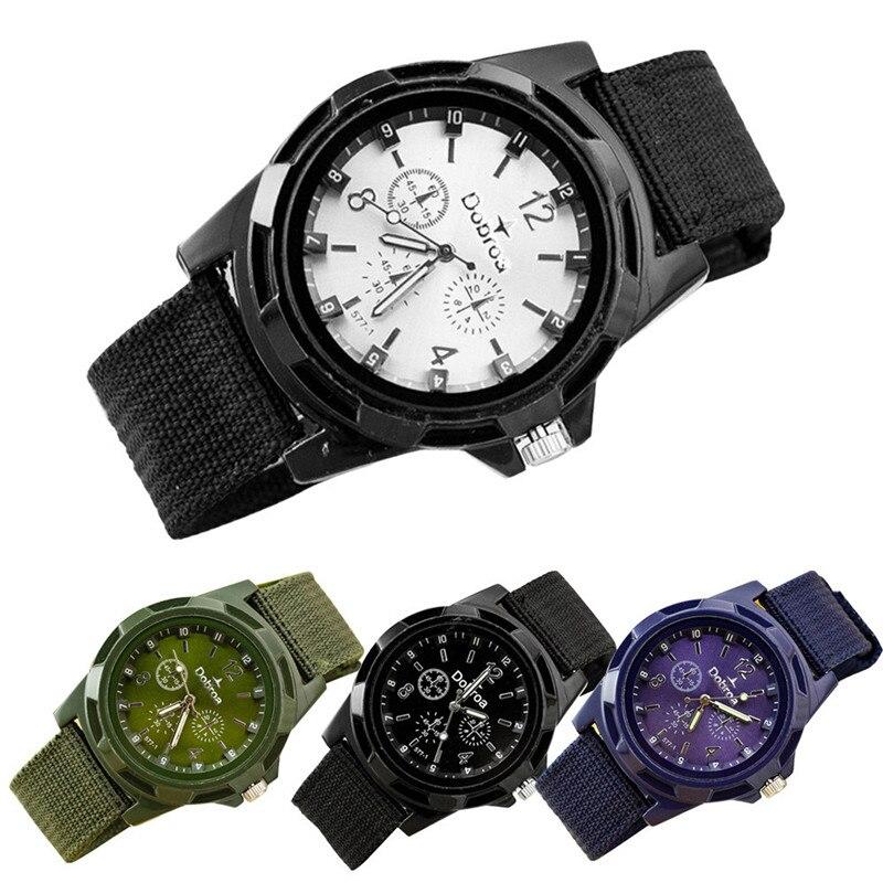 2018 New Hot amazing hsome wonderful classical Men's Fashion Sport Braided Canvas Belt Watch Analog Wrist Watch P*21