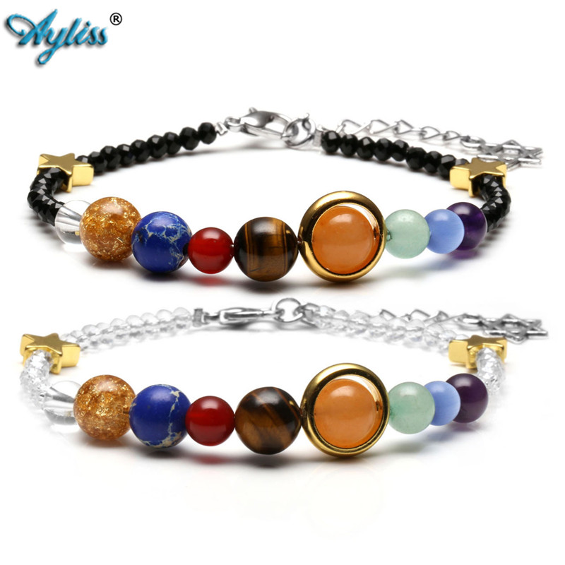 Ayliss New Solar System Bracelet Chakra Healing Crystals Gem Stone Universe Galaxy The Nine Planets Star Black White Glass Beads To Win Warm Praise From Customers Strand Bracelets